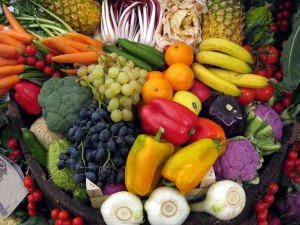 fruit and vegetables on the basket